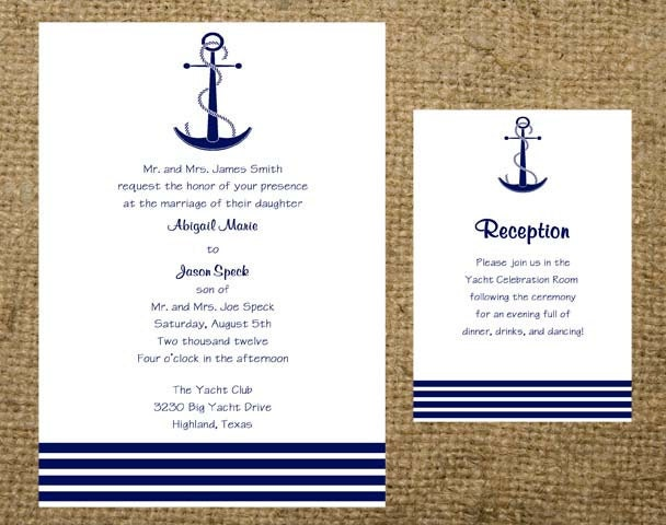 Navy Anchor Stripes Nautical Beach Cruise Destination Wedding – Nautical Wedding Invite