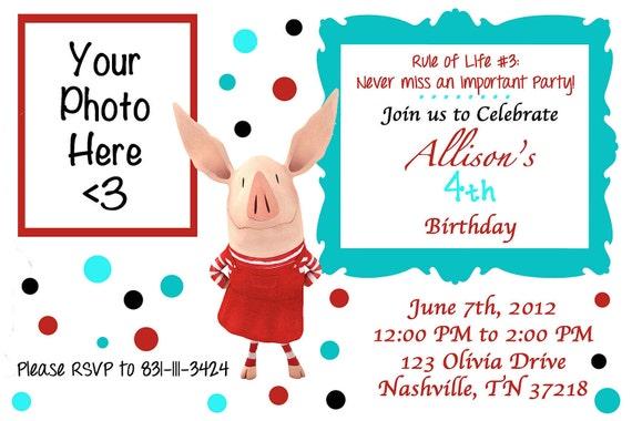 Olivia the Pig inspired Birthday Party Invitation Digital You Print DIY Invite
