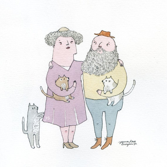 Lovely couple with cats - Fine art print A4