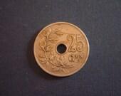 1928 Belgium 25 centimes coin