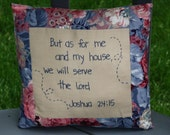 Hand Embroidered Pillow - Joshua 24 : 15 ; Biblical Verse ; Large Floral Cushion ; Christian Pillow ; Decorative Pillow