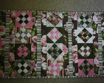 Art Quilt : Chocolate , Strawberry , and Cream ; Textile Wall Hanging ; Table Topper Quilt ; 9 Patch Quilt