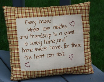 Hand Embroidered Pillow - Every House ; Plaid Pillow ; Home Sweet Home ; Friendship Pillow ; Heart Pillow ; Love Pillow ; Tan Red Pillow