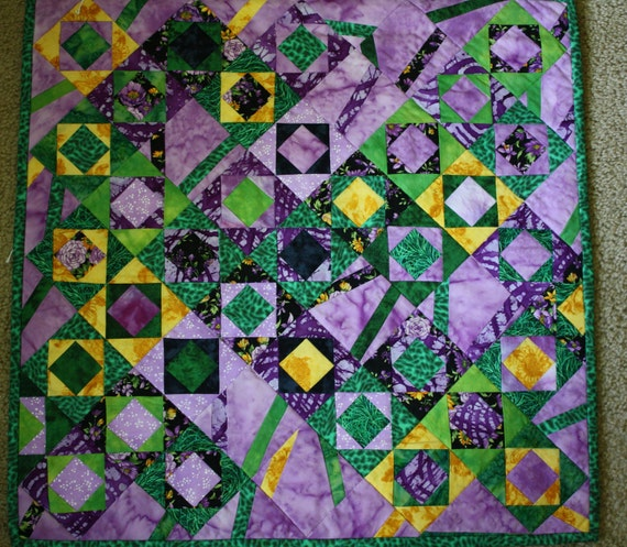 Chaos Art Quilt ; Textile Wall Hanging ; Green , Yellow , Purple Quilt ; Table Topper ; Bright Quilt