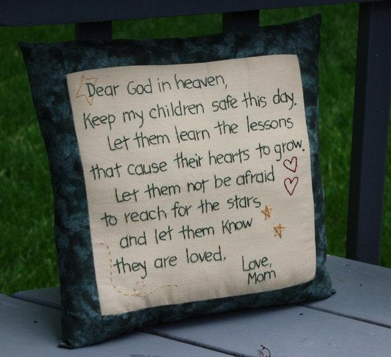 Hand Embroidered Pillow - Dear God ; Inspirational Pillow ; Mom Pillow ; Reach For The Stars ; Children Pillow