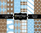 Instant Download - scrapbook digital paper  (blue & brown owl multi pack) - Product  34 (12 digital paper designs)