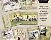 Senior Photoshop Templates Instant Download -  4 Senior Graduation Cards 5x7 Beige and Green Collection
