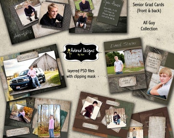 Guy Senior Cards Photoshop Templates Instant Download -  Four Senior Graduation Cards 5x7 - All Guy Collection