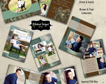 Card Templates for Photoshop, Graduation Announcements (Four 5x7 Instant Download Senior Grad Cards ) - Brown & Teal Collection