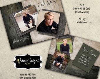 Guy Graduation Announcement Photoshop Template Card -  Instant Download - (One 5x7 Senior Card) - All Guy Collection (card 1)