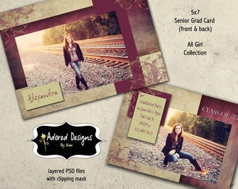 Girl Senior Graduation Announcement Photoshop Template Card - One 5x7 Card front & back Instantl Download(all girl collection card 1)