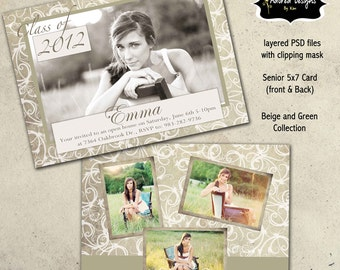 Senior Graduation Templates for Photoshop - Instant Download - One 5x7  front and back (beige & green collection card 1)
