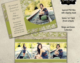 Senior Graduation Templates for Photoshop  - Instant Download - One 5x7 Graduation Card front and back (beige & green collection card 2)