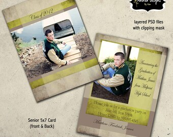 Senior Photo Card Templates for Photoshop  - Instant Download - One 5x7 Graduation front and back (beige & green collection card 4)