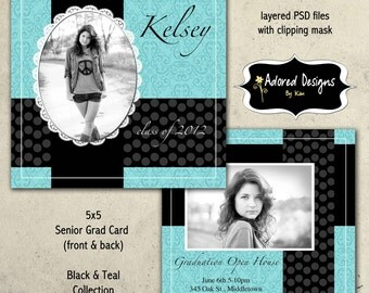 Instant Download - Girl Photoshop Template Senior Card- One 5x5 Girl Senior Card front and back (black & teal collection card 4)