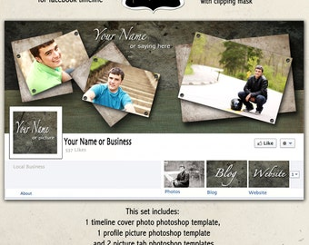 Instant Download - Guy Facebook Timeline Photoshop Template Cover Photo - Guy Grunge