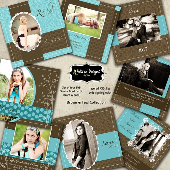 Instant Download Senior Card Photoshop Templates (Four Senior Announcements 5x5) Brown & Teal Collection