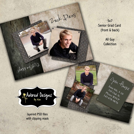 Guy graduation announcement photoshop template card instant for Free senior templates for photoshop