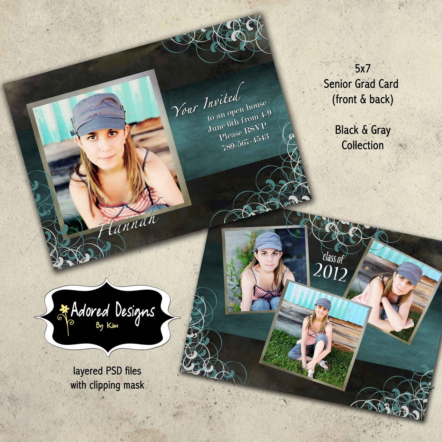 Graduation announcement photoshop template card instant for Free senior templates for photoshop