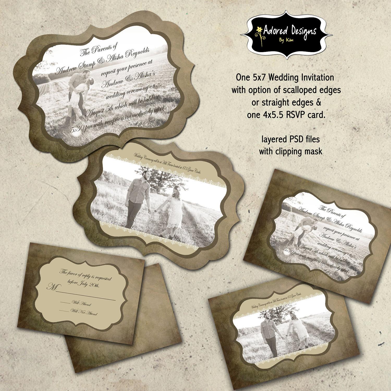 Instant Download Wedding Invitation Photoshop By AdoredDesign