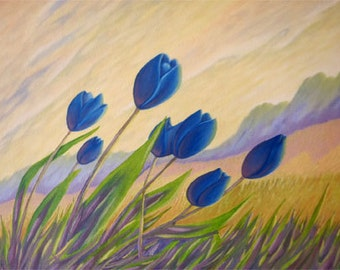 Blue Tulips over the hill