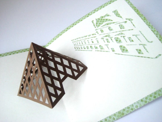 Louvre Pink and Green Pop Up Card