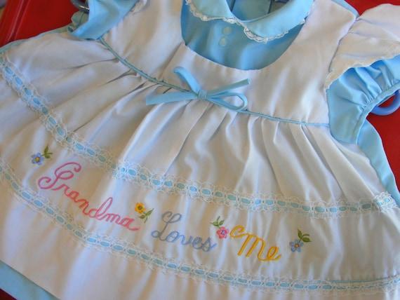 """VTG. Baby girl dress..""""Grandma Loves Me"""" embroidery..size3/6M"""
