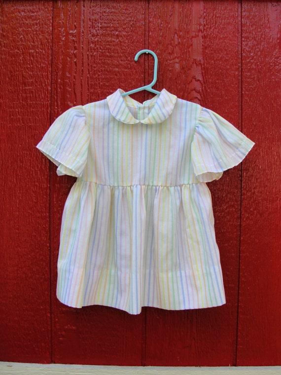 VTG. little girls PASTEL striped flutter sleeve shirt/tunic. Size 3T.