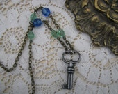 Antique Key  Vintage Beads Steampunk Necklace