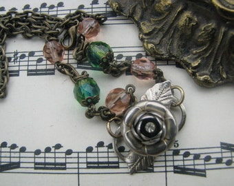 Reclaimed Vintage Beads and Findings Assemblage Necklace