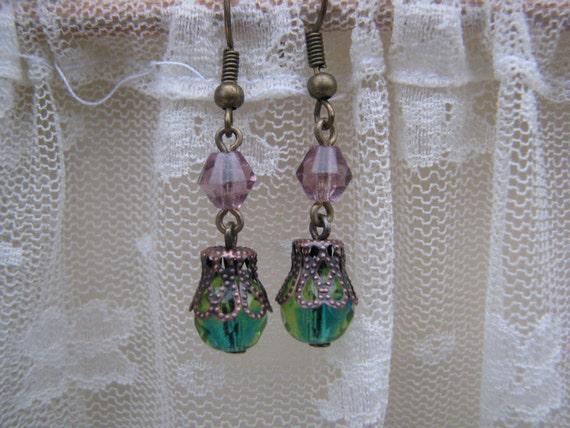 Reclaimed Victorian Style Vintage Czech Beads Earrings