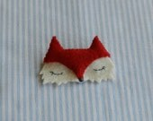 Cute Red Felt Fox Brooch