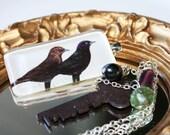 Under Blackbird and Key Necklace