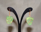 Tumbled Green Sea Glass and Copper wire wrapped Earrings