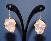 light Pink sterling silver wrapped sea glass earrings