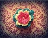 Pink blue cream crochet flower hair clip, infant, girl, baby, children crochet flower clippie