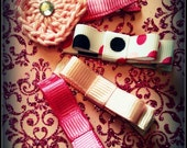 crochet pink heart ribbon clips, baby, infant, children, girl pink dots clippies, ribbon bow pink clips