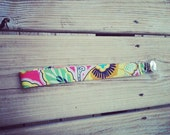 BFF Boho Red Pink Yellow Floral Pacifier Clip Designer Fabric