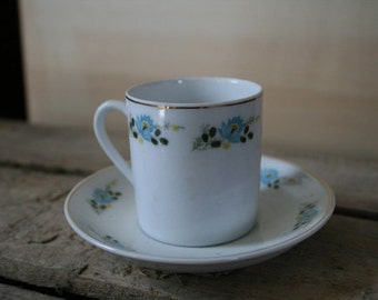 Vintage Teacup and Saucer, Demitasse, Blue and Yellow Flowers