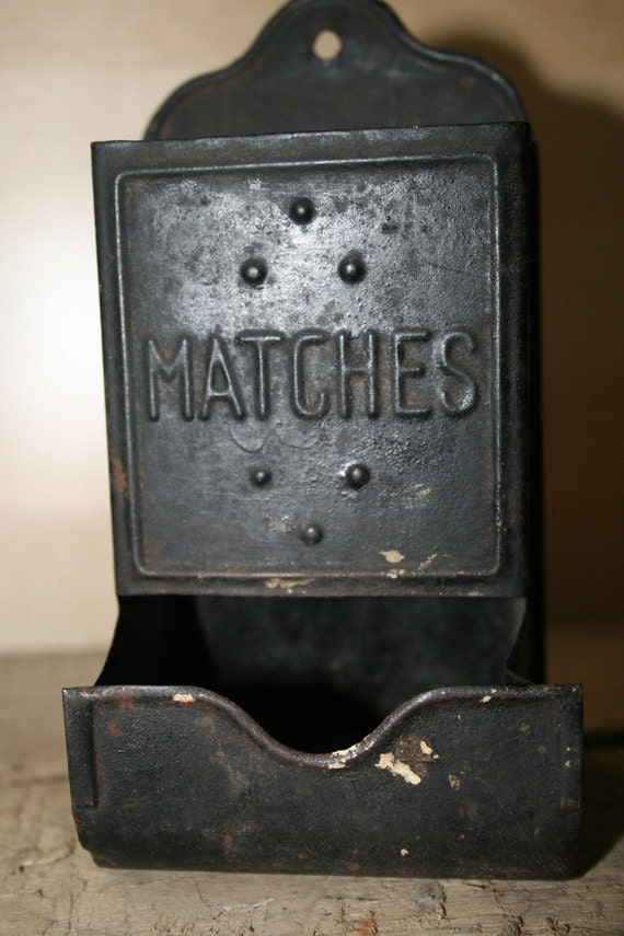 Tin Match Box Or Holder Wall Mounted By Whatsinstorevintage