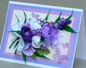 handmade blank card with bouquet of purple lavender white handmade paper flowers for Mom, Wedding, Birthday,Congratulations,Love,Anniversary