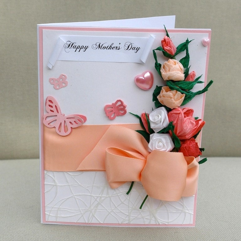 Mother s day card handmade paper flowers handcrafted by aniamelisa