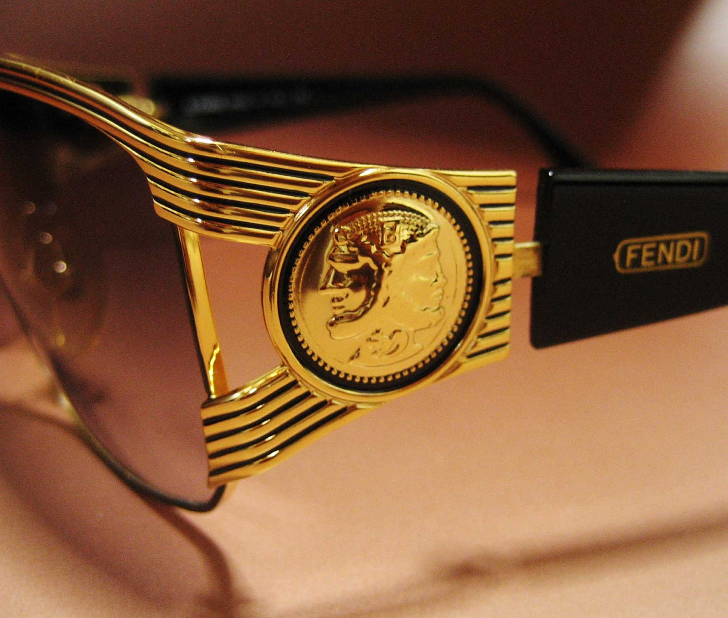 All Gold Glasses Frames : FENDI / Vintage Sunglasses Eyewear / Gold plated Smoke