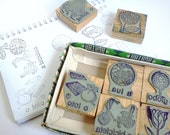 Reserved for Kate - Vintage Rubber Stamps Portuguese School with Original Box - Set of 14