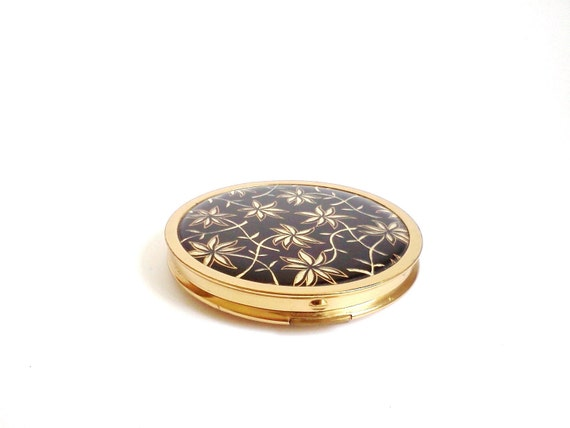 SALE Vintage Compact Powder Mirror Mascot Black and Gold Flowers