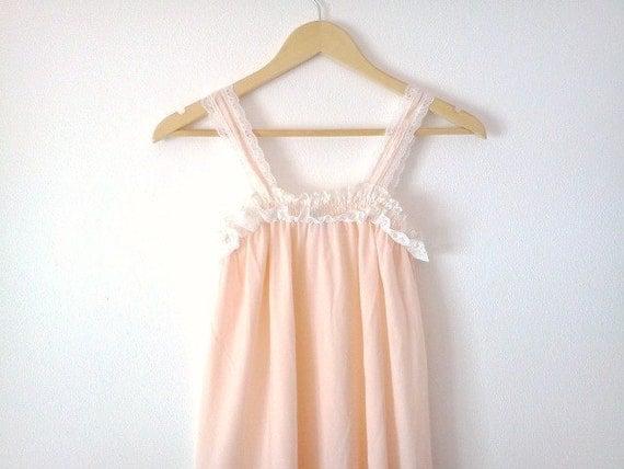 Vintage Nightdress Peach Cotton White Lace Romantic Wedding