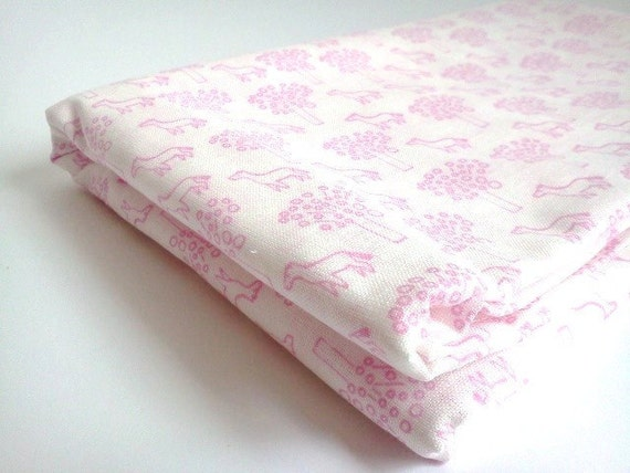 Vintage Cotton Fabric Pink Mint Little Horses and Trees
