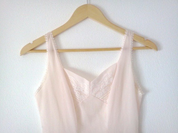 Vintage Slip Dress Nightdress Combination Pale Pink with Lace