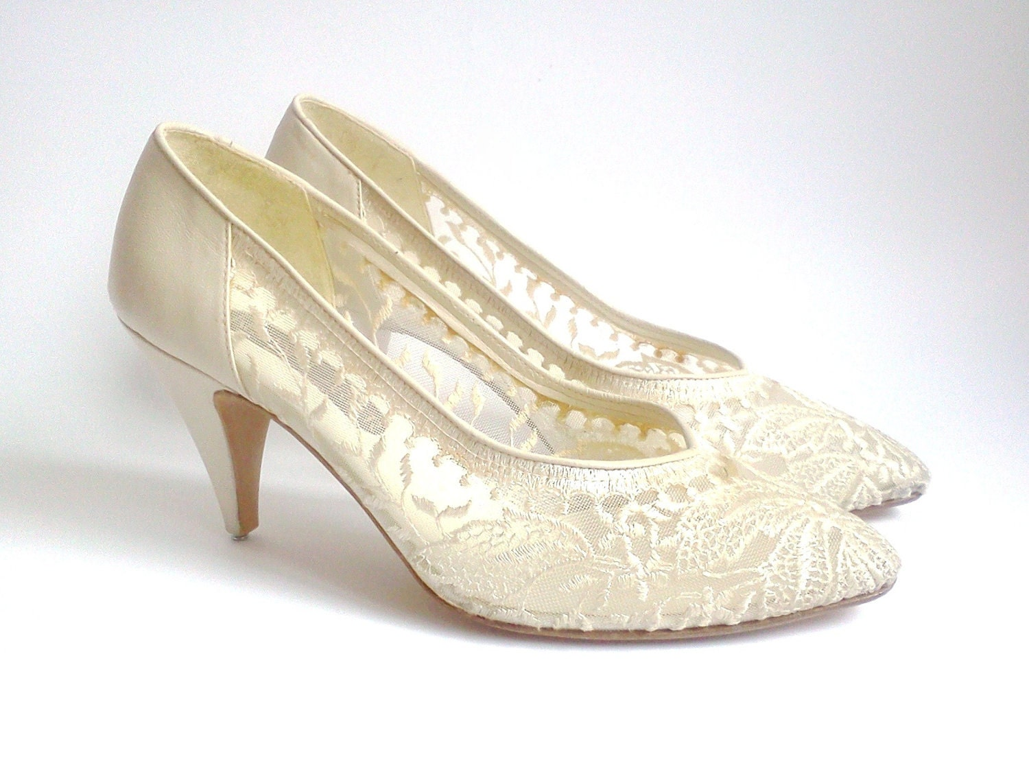 Vintage Wedding Shoes Roland Cartier Beige Lace And Leather