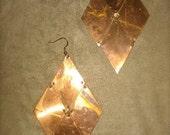 Vintage Diamond Copper  Plate Earrings